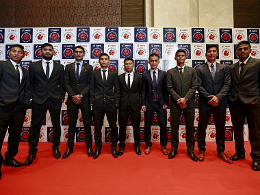 File image of Indian football players before the domestic player auction and draft for the Indian Super League (ISL). Reuters