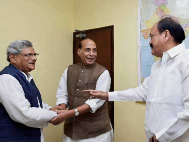 Union Ministers Rajnath Singh and Venkaiah Naidu meeting with CPM general secretary Sitaram Yechury on Presidential poll as part of the ruling party's outreach to stitch a consensus in New Delhi on Friday. PTI