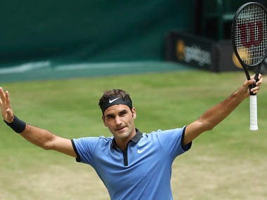 Switzerland's Roger Federer after beating Germany's Florian Mayer in the quarterfinals. AP