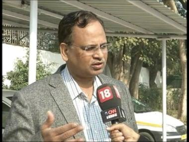 Screen grab of Satyendar Jain. News18