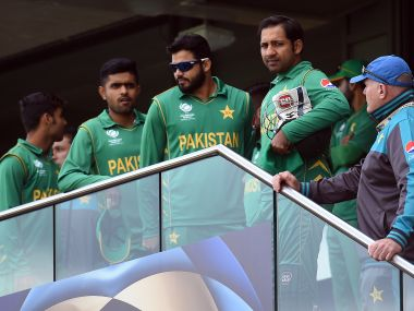 A Disappointed Sarfraz Ahmed And His Team During Their Match Against India In The Champions Trophy