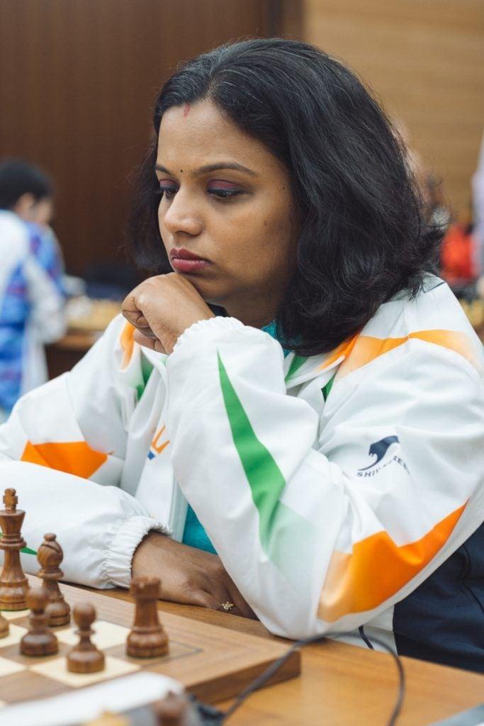 Vijayalakshmi Subbaraman lost inexplicably against Nino Batsiashvili. (Image courtesy: FIDE)