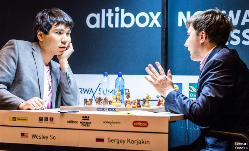 A completely crazy and complicated game between Wesley and Karjakin ended in a draw. Image courtesy: Lennart Ootes.