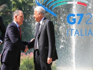 Gian Luca Galletti, Italian minister of Environment (R) greets Scott Pruitt, administrator of the Environmental Protection Agency of United States (EPA) (L) during the first day of the G7 summit. AP