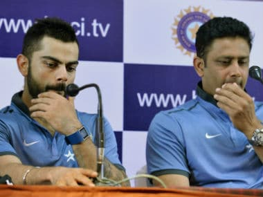 File photo of India captain Virat Kohli (L) and coach Anil Kumble. AFP
