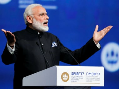 ST. PETERSBURG: India's Prime Minister Narendra Modi addresses the St. Petersburg International Economic Forum in St.Petersburg, Russia, Friday, June 2, 2017. AP/PTI(AP6_2_2017_000234B)