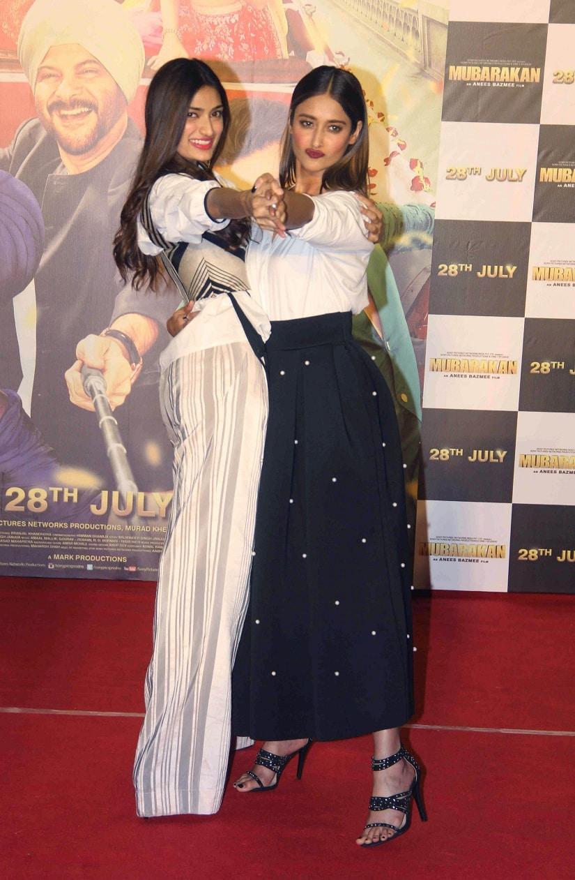 Bollywood actors Athiya Shetty and ILeana Dcruz during the trailer launch of film Mubarakan in Mumbai, India on June 21, 2017. (Sushant Agonde/ SOLARIS IMAGES)