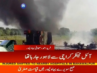 Pakistan oil tanker fire: At least 140 killed, 100 injured after cigarette causes inferno in Bahawalpur