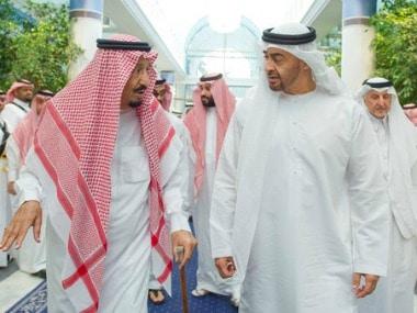 Saudi King Salman bin Abdulaziz Al Saud (left) talks to Sheikh Mohammed bin Zayed Al Nahyan, Crown Prince of Abu Dhabi. AP