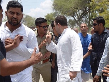 Congress vice-president Rahul Gandhi walked some distance after getting off his car near the Neemuch border. Twitter/ @INCIndia