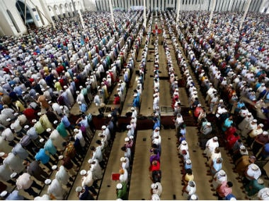A file image of worshippers gathered in amosque on the last Friday of Ramadan. AP