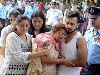 Family members of missing Su-30 pilot, Squadron Leader D Pankaj at his cremation in Tezpur on Thursday.