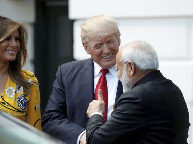 US president Donald Trump welcomes Narendra Modi. AP
