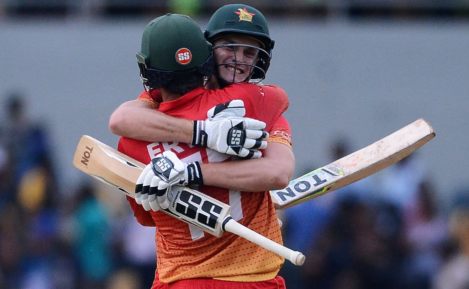 Zimbabwe's Craig Ervine was a happy man after he steered his team to a 4-wicket win over Sri Lanka.AP
