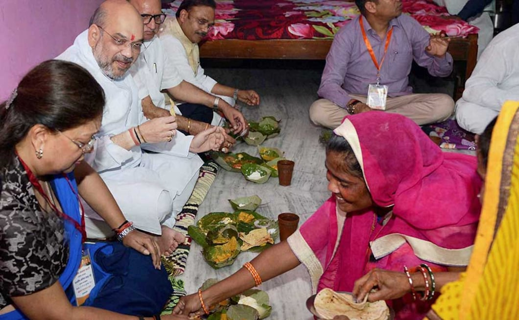 BJP president Amit Shah had lunch with a Dalit family on the last day of his three-day visit to Rajasthan. After rounds of meetings in the party office, Shah left for Sushilpura, where he had lunch at the house of BJP Yuva Morcha member Ramesh Pacharia amid tight security arrangements. PTI