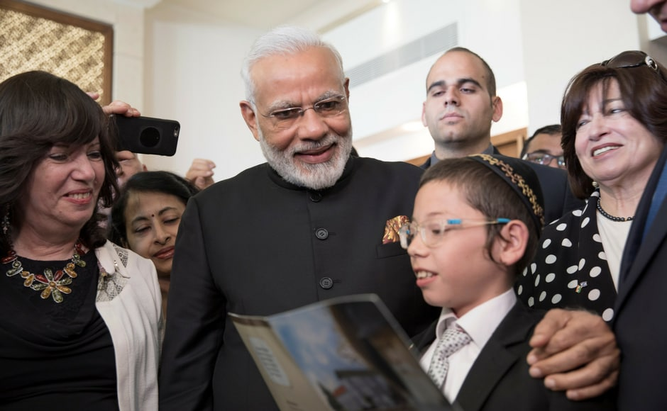 Narendra Modi also met Moshe Holtzberg whose parents were killed during the November 2008 attacks at Nariman House in Mumbai. Reuters