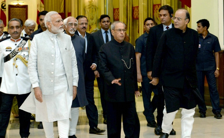President Pranab Mukherjee was accompanied by Vice-President Hamid Ansari, Prime Minister Narendra Modi, and Union Minister for Finance, Corporate Affairs and Defence Arun Jaitley during the dinner on Friday. PTI