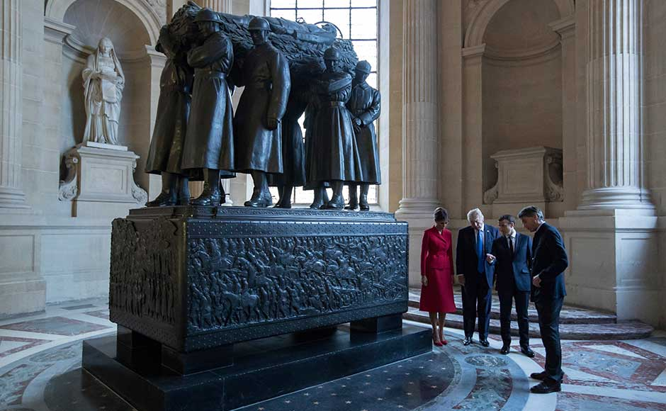 Macron gave Trump a personal tour of Napoleon's tomb at the Invalides military complex in central Paris, before the two men headed for talks. AP