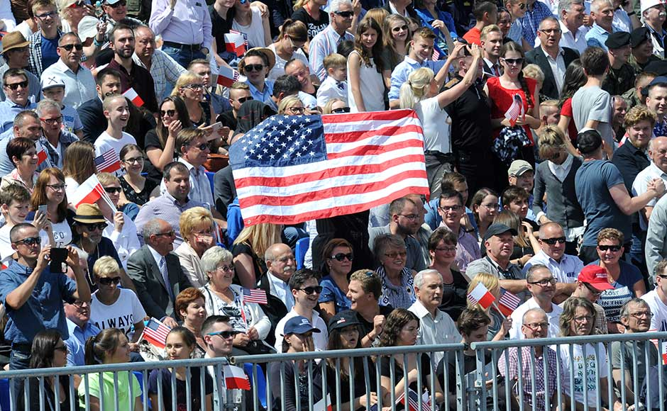 Around 10,000 people turned out to see him, many arriving on free buses laid on by Poland's conservative ruling party, which was eager to ensure Trump got the adulation he craves. AP