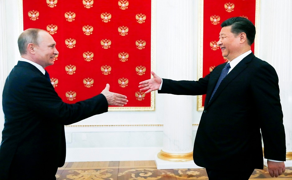 President of China Xi Jinping met his Russian counterpart Vladimir Putin in Moscow on Monday to discuss on bilateral ties and major global issues. AP