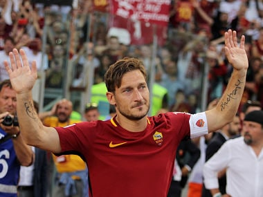Roma player Francesco Totti greets his fans after his last match during the Serie A match between AS Roma and Genoa CFC on May 28, 2017. Getty