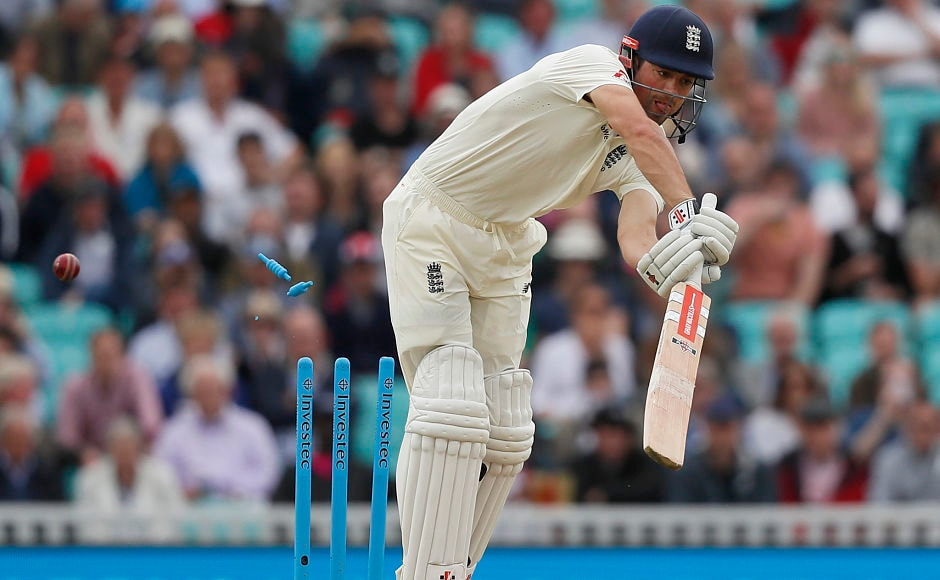 England's Alastair Cook has his furniture rearranged. Cook was dismissed for 7 by Morne Morkel. AP