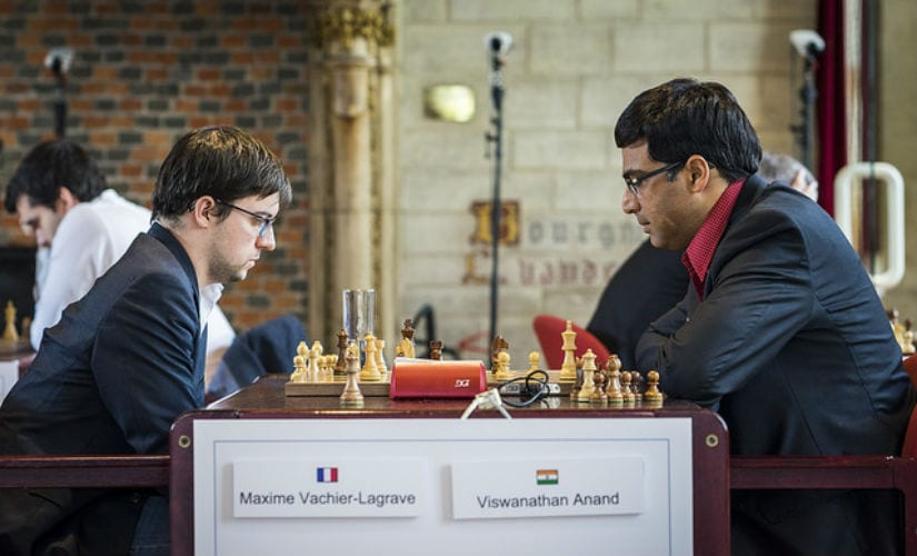 Vachier-Lagrave was crushed by Anand in the opening, but somehow the Frenchman not only escaped, but also was able beat his Indian opponent. Image courtesy: Official website