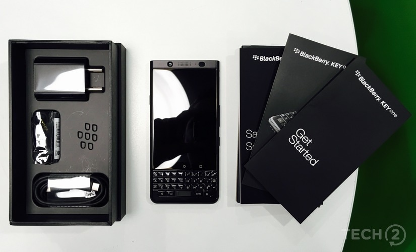 The box contents of the BlackBerry KeyOne Limited Edition Black