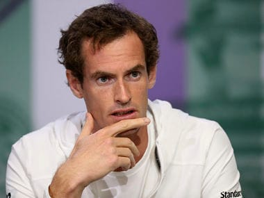 Britain's Andy Murray speaks at a press conference ahead of the Wimbledon Tennis Championships in London, Sunday, July 2, 2017. Murray is the defending men's singles champion. (Jed Leicester, AELTC/Pool Photo via AP)