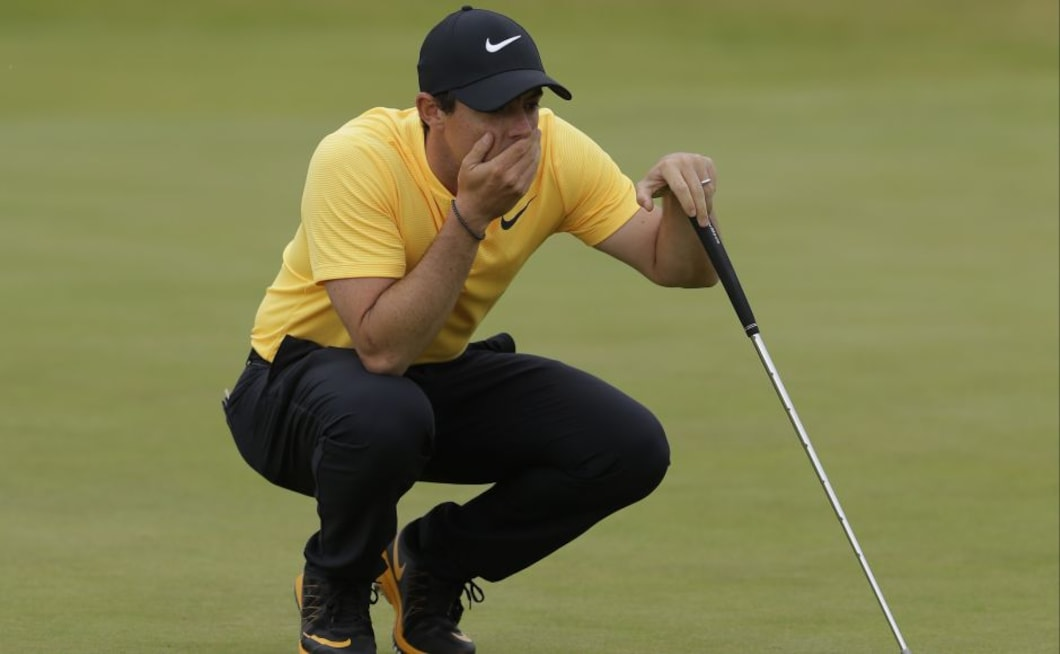 Northern Ireland's Rory McIlroy lines up a putt on the 14th green during the final round of the British Open. McIlroy produced his best round of the week with a 67 to leave him on five under for the tournament and tied in fourth place with Spain's Rafael Cabrera-Bello who shot 68. AP