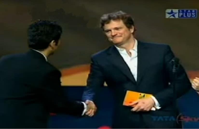 Colin Firth at IIFA awards 2007. Screengrab from YouTube.