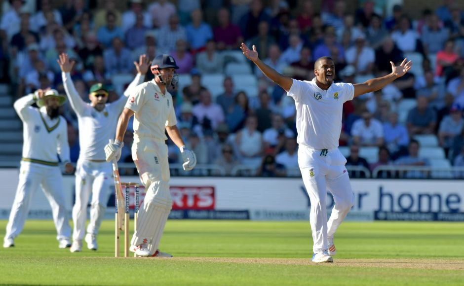 Alastair Cook survived a strong appeal from Vernon Philander during the four overs England were asked to play on Day 3. AFP