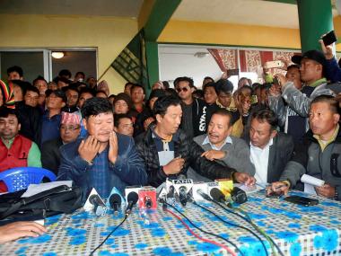 File image of Gorkha leaders addressing people in Mirik. PTI