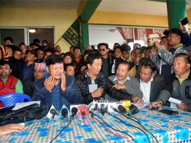 File image of Gorkha leaders addressing people in Mirik. PTI