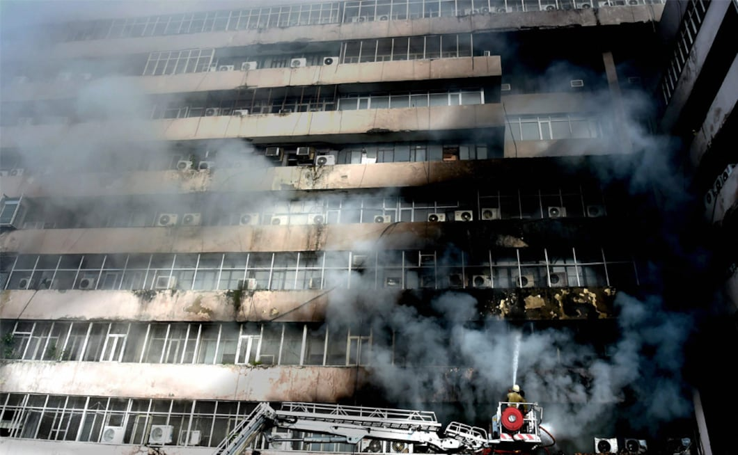 A massive fire broke out in a building in Lok Nayak Bhawan near the upscale Khan Market in New Delhi on Monday afternoon. PTI