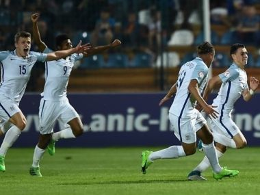 England players celebrate a goal against Spain in the final of the UEFA U-17 Championship. Image courtesy: UEFA