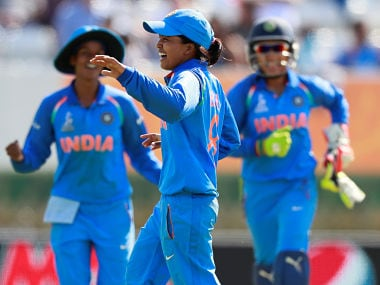 India's Ekta Bisht celebrates taking the wicket of Pakistan's Diana Baig. Reuters