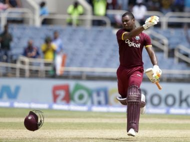 Evin Lewis's destructive batting deflated the Indian bowling attack. AP