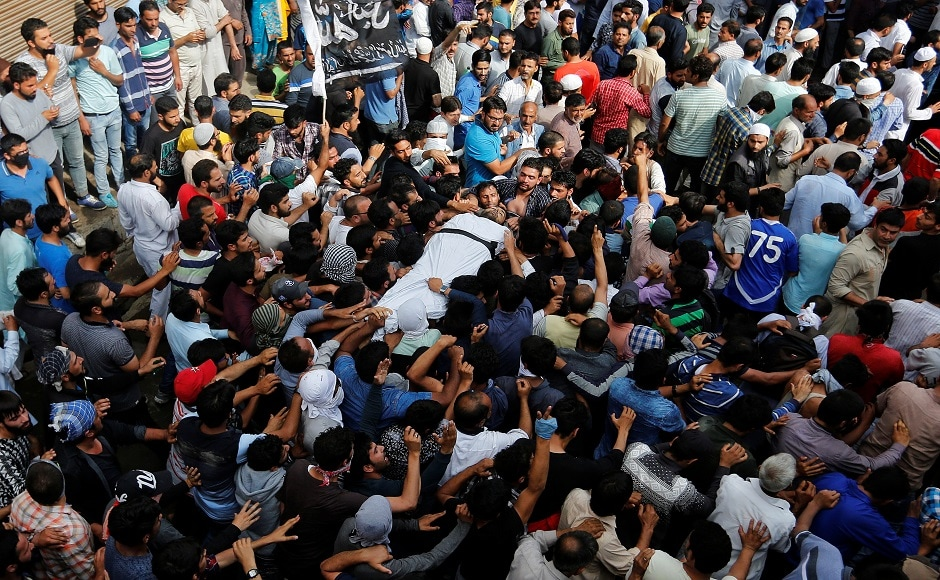 Thousands attended the funeral of Hizbul Mujahideen militant Sajid Ahmed Gilkar in Srinagar on Wednesday. Gikar was killed along with two militants in a gunfight with security forces in Budgam on Wednesday morning. Reuters