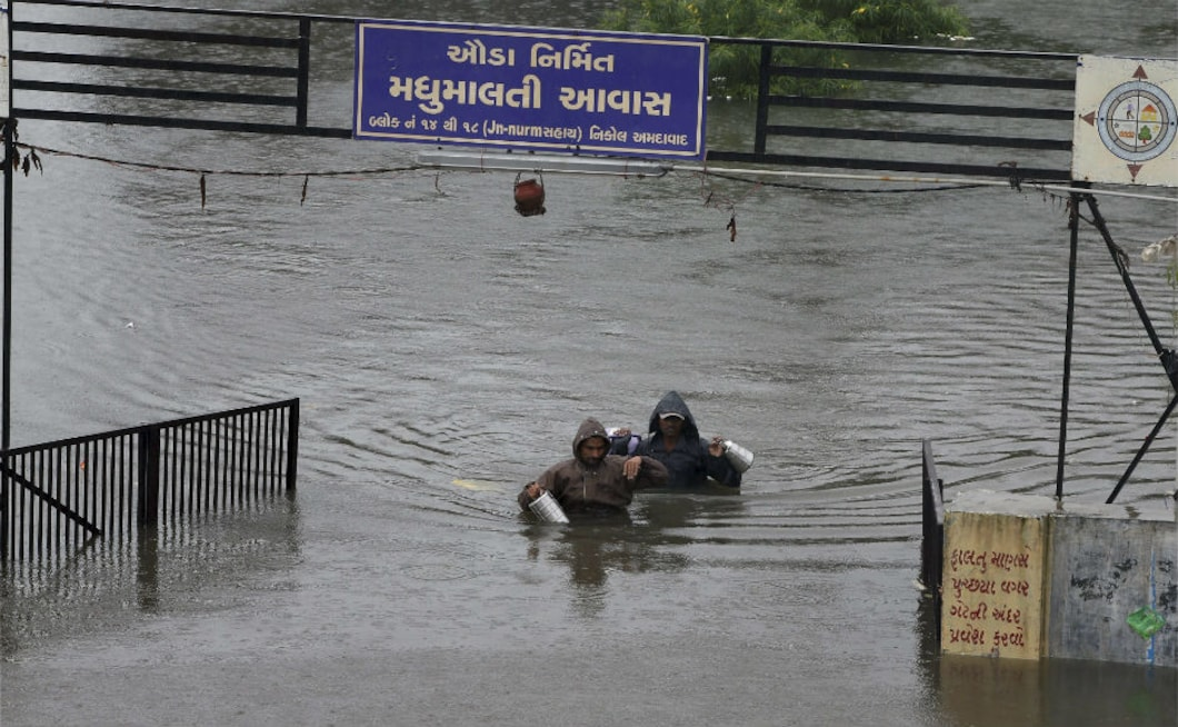 Ahmedabad alone received over 200 mm rainfall in 24 hours, forcing relocation of more than 10,000 people on Thursday. Several localities in the city were waterlogged. The death toll in Gujarat stood at 123 on Wednesday. PTI