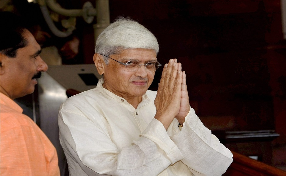 Opposition candidate Gopalkrishna Gandhi also filed his nomination papers for the election. PTI