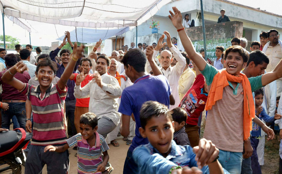 Praunkh, Kovind's anancestral village in Kanpur also celebrated his victory. All the residents were seen greeting one another, distributing sweets and celebrating with 'gulal', while the children danced their excitement out. PTI