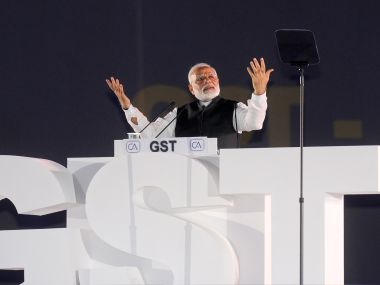 Prime Minister Narendra Modi during his speech ahead of the GST rollout on Friday night. PIB