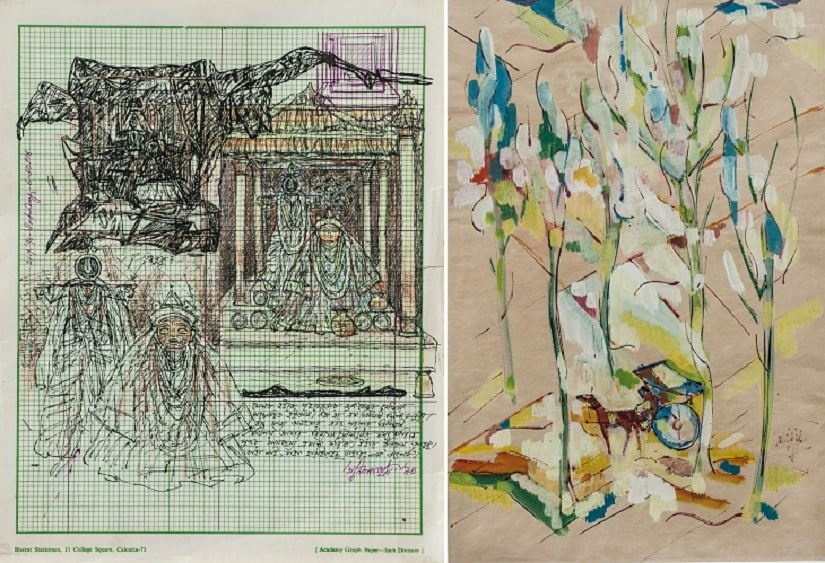 (L) Ganesh Pyne, Untitled. (R) Nikhil Biswas, On Defeat