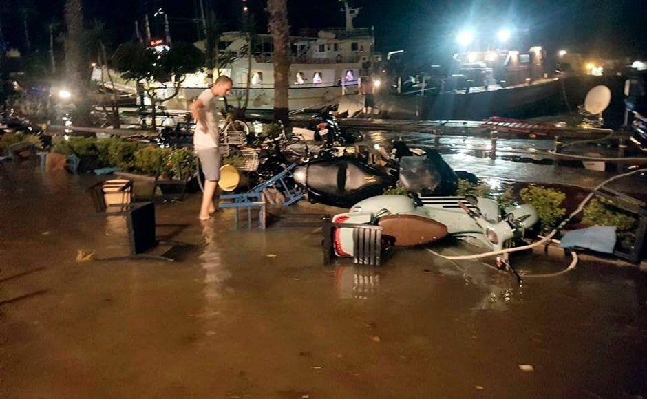 Hotels were flooded in Greek and Turkish holiday resorts as the earthquake ripped through the Aegean Sea. AP