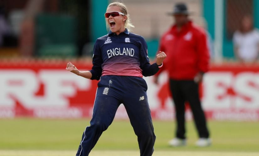 Cricket - England vs New Zealand - Women's Cricket World Cup - Derby, Britain - July 12, 2017 England's Alex Hartley celebrates taking the final wicket of New Zealand's Holly Huddleston Action Images via Reuters/Jason Cairnduff - RTX3B66B