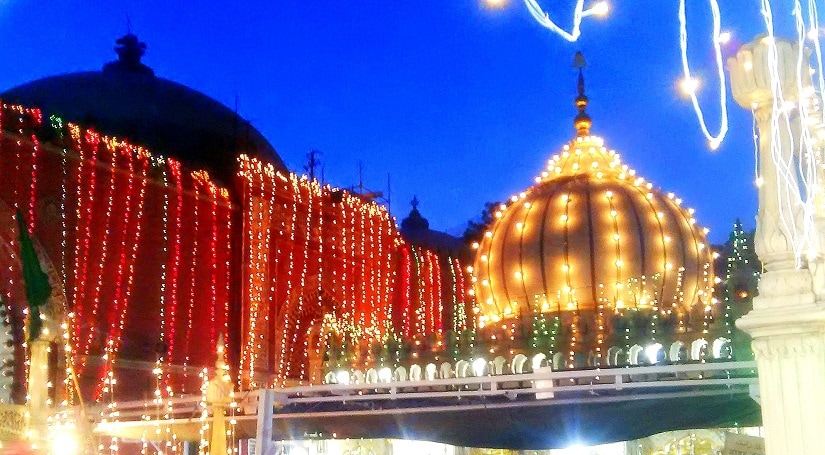 The dargah in all its splendour, lit up at night