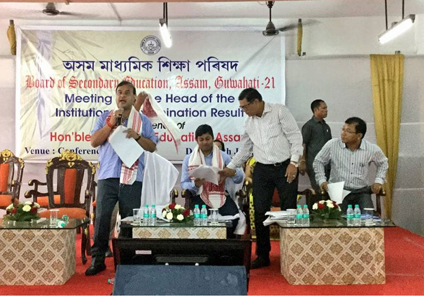 Assam education minister Himanta Biswa Sarma during the meet with heads of schools. Image courtesy Sarma's Facebook page