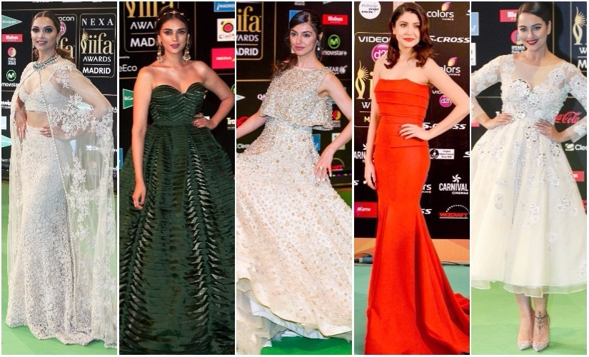 (L-R) Deepika Padukone in Sabyasachi, Aditi rao Hydari in Shantanu and Nikhil, Divya Khosla in Manish Malhotra, ANushka Sharma in Gauri and Nainika, Sonakshi Sinha in Abu-Sandeep on the IIFA green carpet. Images via Getty, Twitter