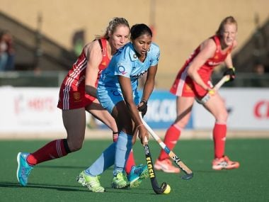 India in action against England in the quarter-final of HWL Semi-Finals. Twitter.com/@TheHockeyIndia